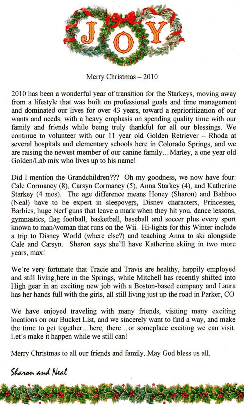 Starkey 2010 – Holiday Letter
